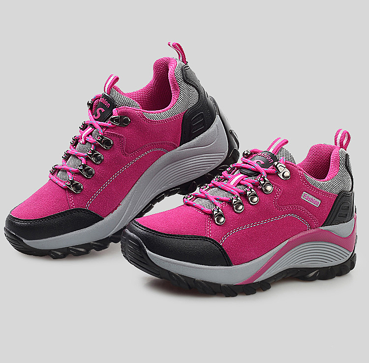 f2ddb84ad8fb0 Outdoor Hiking Boots Woman Leather Women Sneakers Trekking Waterproof Shoe  for Female Breathable Camping Plum Purple Sport Shoes