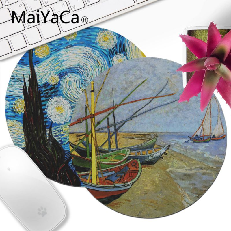 MaiYaCa  Vincent Van Gogh Painting High Speed New Lockedge Mousepad 20x20cm 22x22cm Diameter Round Mouse Pad