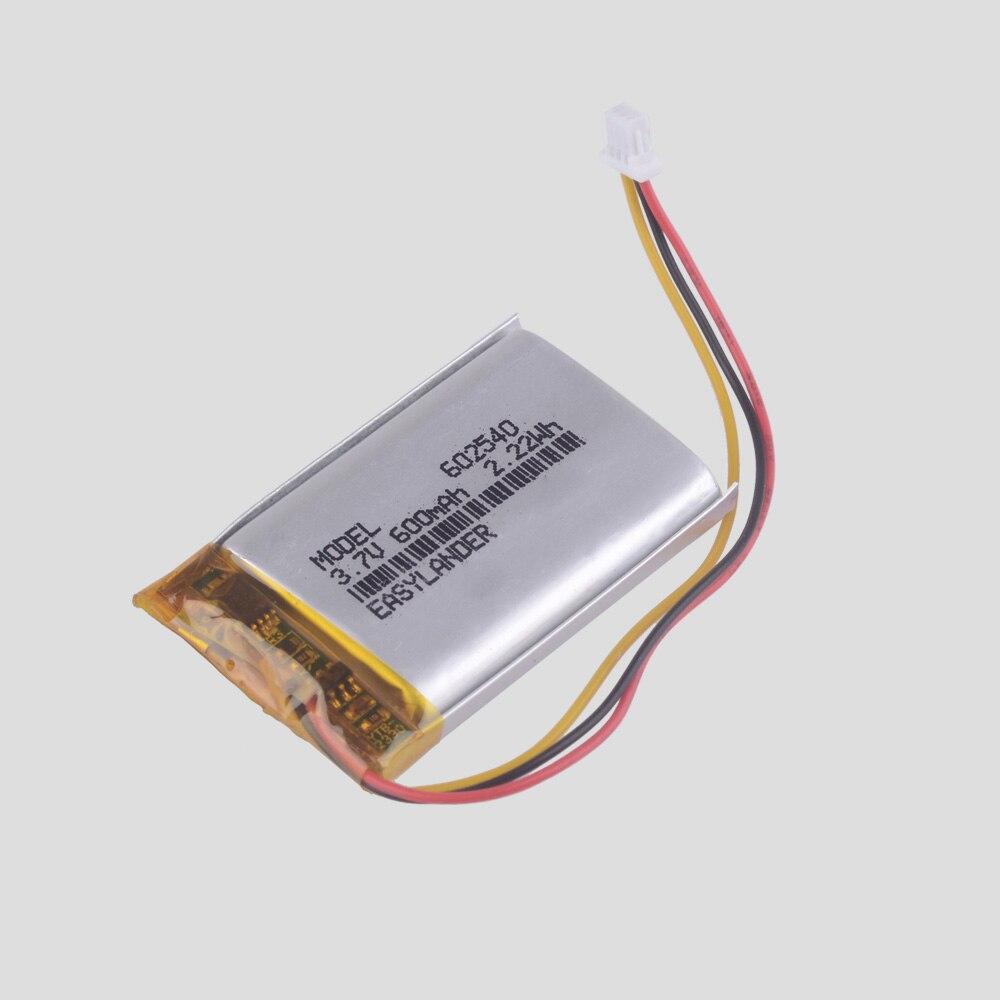 602540 Easylander 3.7V 600mAh Rechargeable  Li-Polymer  Battery For MIO MiVue 358 388  Ortable Set-top Box DVR MP3 Toys