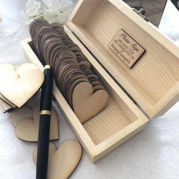 392bce4865c8 Personalizada boda Libro de Visitas personalizado caja de firma de madera  caja de boda con corazones rústico grabado nombre caja de regalo
