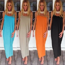Women Plus Size Dress Plunge Backless Round Neck Sleeveless Long Maxi Gown Casual