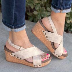 Женские босоножки на танкетке, женские босоножки на высоком каблуке, обувь на платформе с ремешком сзади, женские туфли на танкетке с