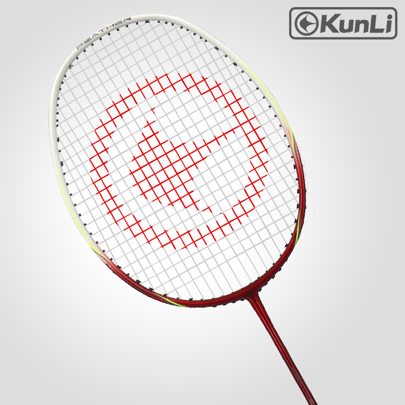 Original KUNLI Official Badminton Racket 4U FEATHER K300 Red Ultra Light Attack Full Carbon Professional For Attacking Player