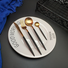 Hot Sale 4pcs Black Gold Western Cutlery Dinnerware Kitchen 304 Stainless steel Knife Fork Spoon Food Tableware Flatware Set цена и фото