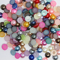 Spedizione gratuita 2000 pz 8mm colori misti perle d'imitazione metà intorno alle perle del flatback per DIY monili che fanno, DVJ8