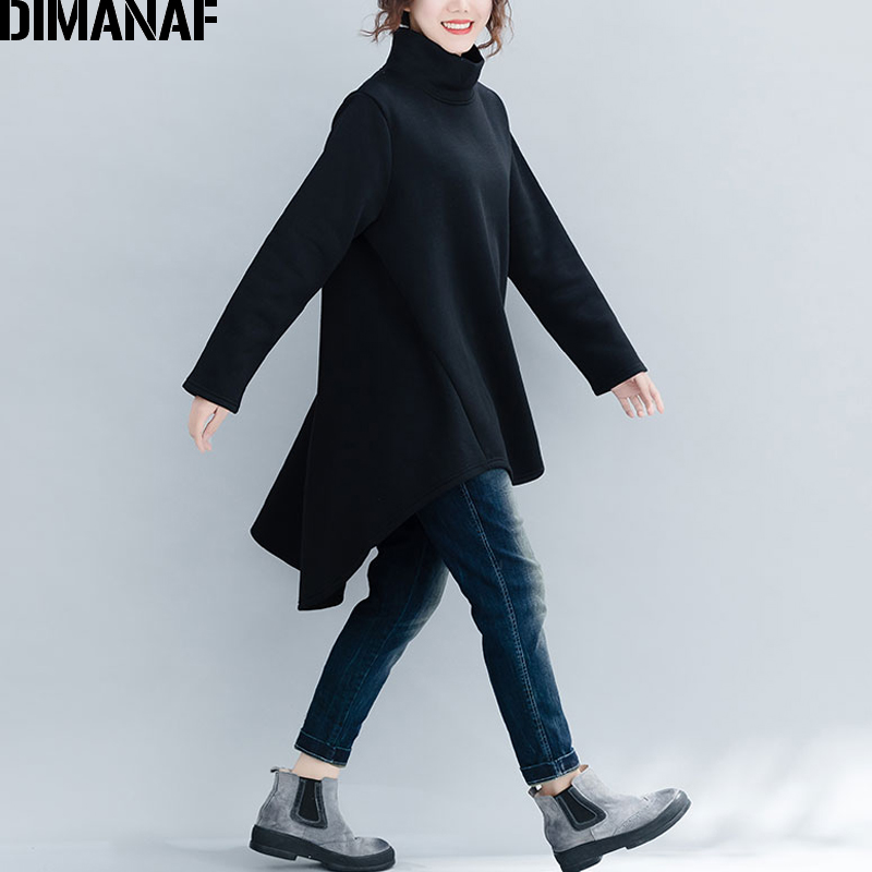 DIMANAF Plus Size Women Pullover Winter Warm Hoodies Sweatshirts Cotton Knitted Thicken Top Female Turtleneck Loose Clothes 2018 3