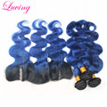 Mongolian Virgin Hair Blue Weave With 13x4 Lace Closure 1B Blue Two Tone Ombre Hair Bundles With Frontal Blue Virgin Hair Weave