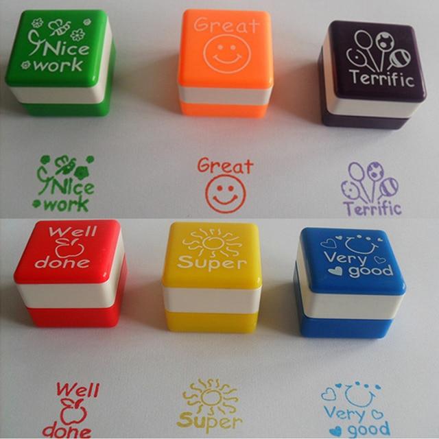 Cute Teachers Self Inking Praise Reward Stamps Cartoon Kids Stamp Set Motivation Sticker School Scrapbooking