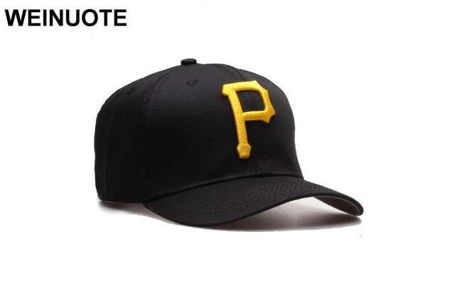 6d4ffa51dc09b Online Shop Men s Pittsburgh Pirates Strapback Full Black Hats Sport  classic Fashion Yellow P logo Baseball Hat Curved Caps For Women