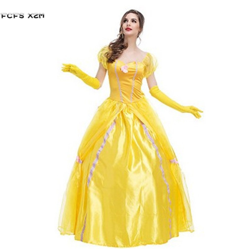 S-XXL Beauty and the beast Halloween Cinderella Costume For Women Female Princess Cosplay Carnival Purim Masquerade Party dress