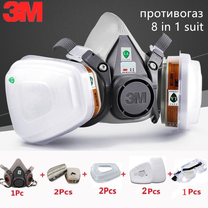 8 In 1 3 M 6200 Halb Industrielle Gas Maske Organische Dampf Schutzhülle Carbon Filter Patrone Atemschutz Farbe Spray Chemische Brille