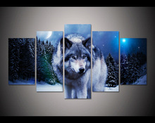 5 panel HD printed modular painting animals wolf pack canvas print art modern home decor wall art picture for living room F0008