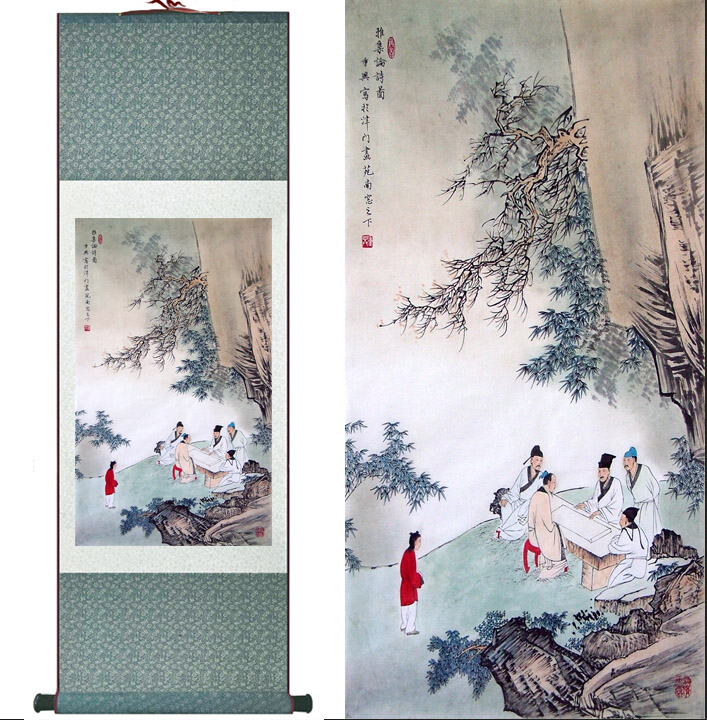 landscape painting Home Office Decoration Chinese scroll painting Mountains and river painting Ink Wash painting