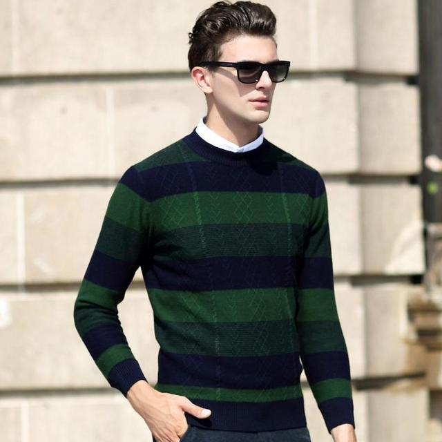 Dong men, thin knitting striped sweater, men's sweaters turtleneck collar young men