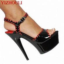 1e0e2ff5a لون الربيع و الصيف الصنادل أزياء مريحة 15 سنتيمتر منصة أحذية مثير 5 بوصة  عالية الكعب المفتوح تو أحذية