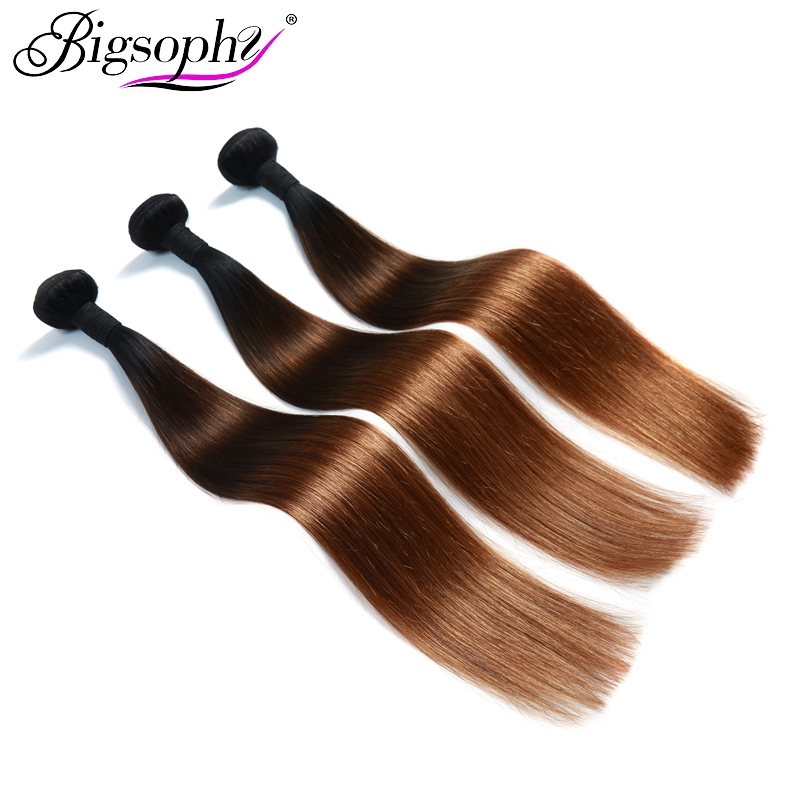 Bigsophy Brazilian Hair Weave Bundles Straight Hair 4 Bundles Remy Hair Extension Ombre Color 3 Tone 1B 4 30 3 4 Bundles deals in 3 4 Bundles from Hair Extensions Wigs