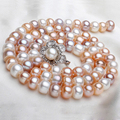 2016 New Fashion 100%Real Natural Freshwater Pearl Long Necklace White Multi WeddingNecklace For Women Best Gifts Free Shipping