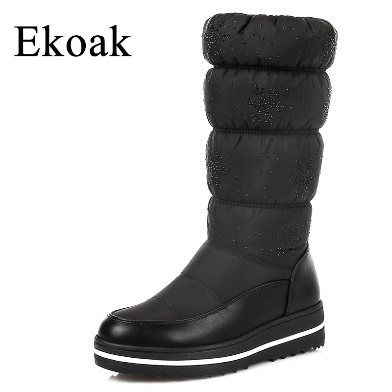 Ekoak Big Size 36-43 Warm Down Snow Boots Fashion Crystal Winter Women Boots Ladies Wedges Mid-calf Boots Platform Shoes Woman