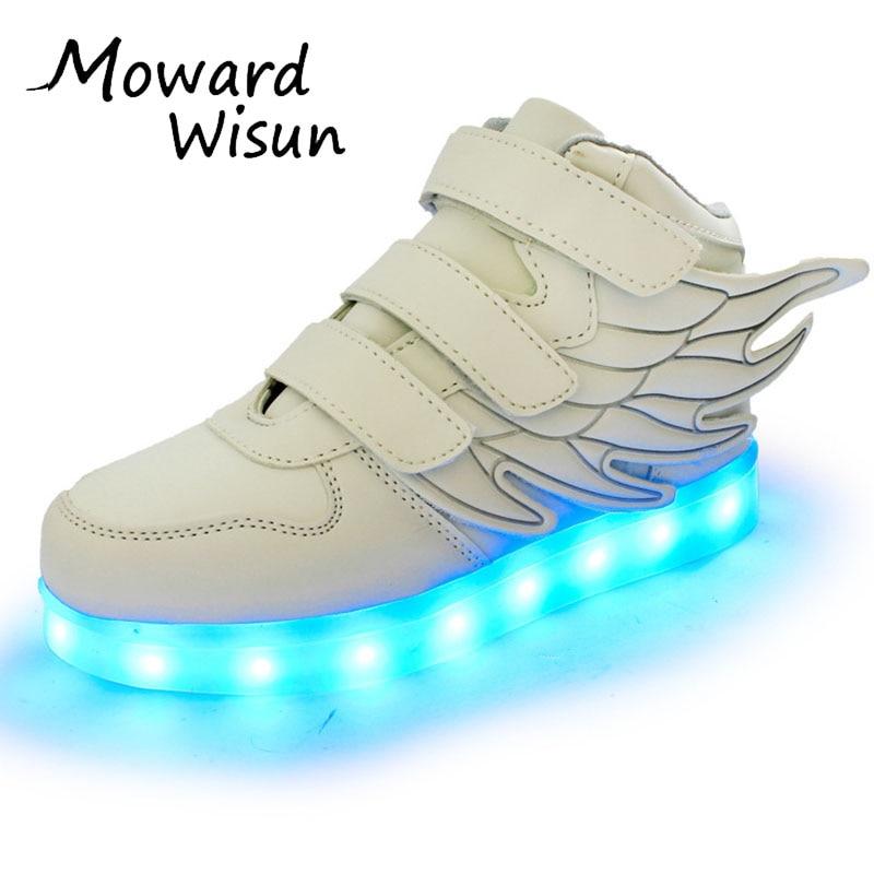 Børne LED Sko Kurve Drengere Piger Lys Glødende Sko Lysende Sneakers med Lette Såle Enfant Kids Up LED Tøfler