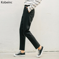 Kobeinc Black Trousers For Women With Pockets Winter Female Loose Thickening Warm Harem Pants Casual Korean