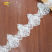 5 Yard Lace beaded Tape 12.5cm wide White Trim DIY Embroidered Net lace trimmings for sewing Decoration african fabric