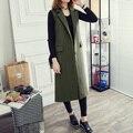 2016 Korean Winter New Long Wool Female Fashion Retro Sleeveless Women Jacket Side Slit Vest