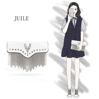 JUILE fashion exquisite deer women's clutch bag shoulder bag lady tassel decorative messenger bag female designer wallet handbag