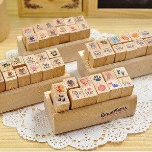 12pcs Kawaii Pattern Mini Wood Seal DIY Diary Hand Account Writing Drawing Love Letter Paper Envelopes Stationary Girl Gifts