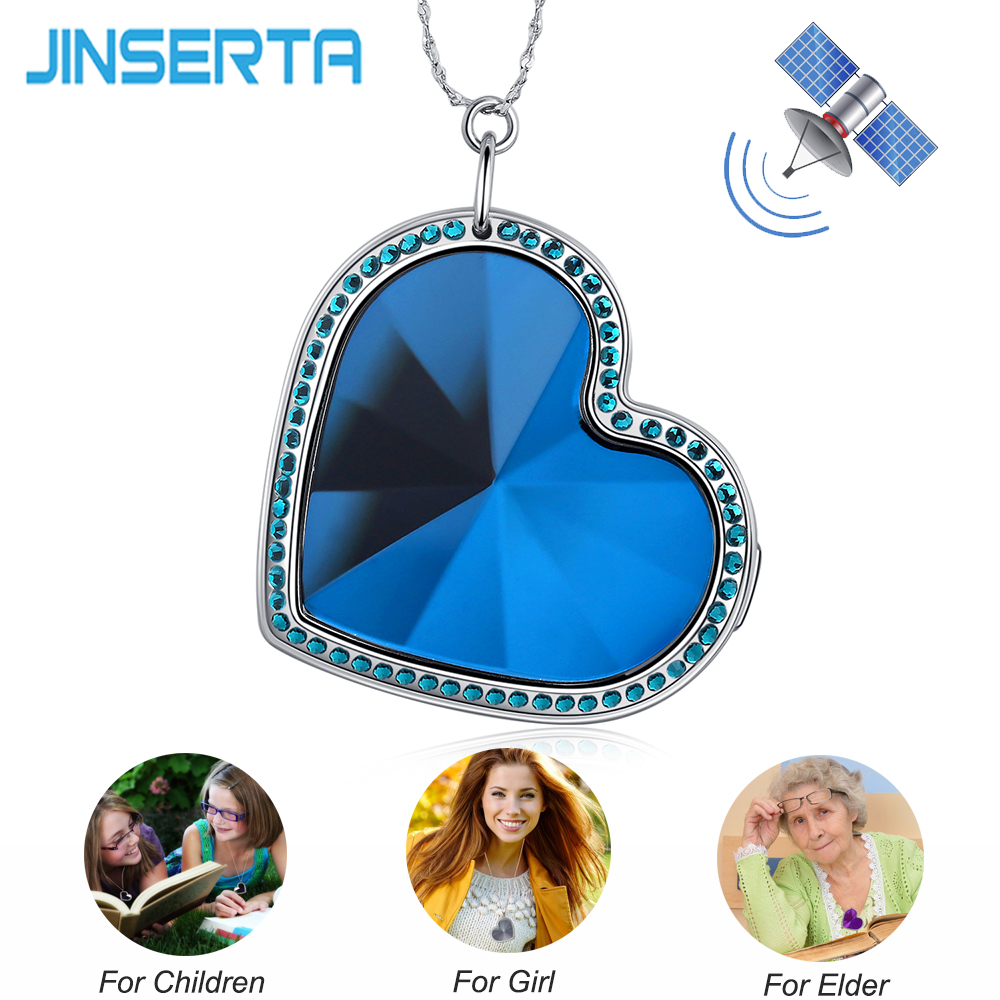 JINSERTA Fashion Personal Kids GSM GPS Tracker Heart Shape Necklace Real Time Tracking Alarm Device For Girlfriend Mom Elders