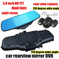 Cheap car rearview mirror DVR 5.0 inch  Dual Camera car video recorder front 170 and back 120 degree wide angle night vision