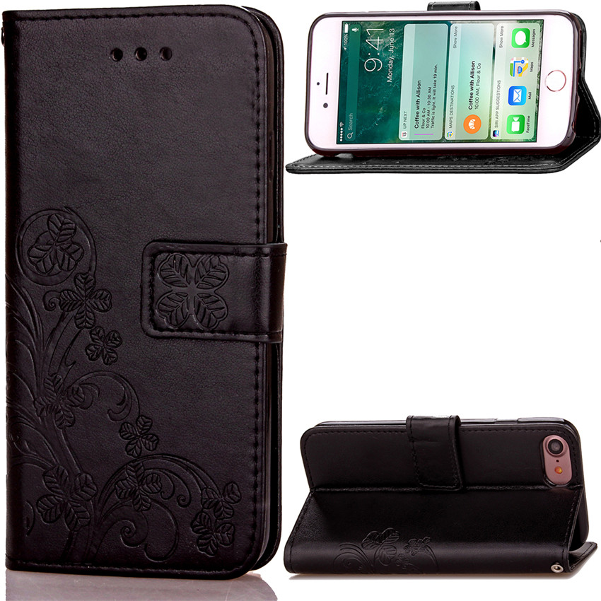 Lucky Clover Design PU leather <font><b>Case</b></font> For <font><b>Apple</b></font> iPhone 4 <font><b>4S</b></font> 5 5S SE 6 6S 7 Plus Wallet Card Holder stand Flip <font><b>Phone</b></font> Bags cover