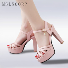 Plus Size 34-43 New Platform Sandals Women Fashion Summer Shoes Extreme High Heel Women Peep Toe Ankle Strap Sexy Party Pumps
