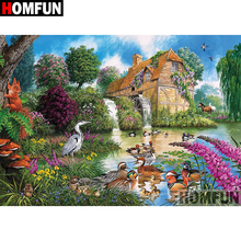 HOMFUN 5D DIY Diamond Painting Full Square/Round Drill House lake Embroidery Cross Stitch gift Home Decor Gift A08295 homfun 5d diy diamond painting full square round drill lake scenery embroidery cross stitch gift home decor gift a09348