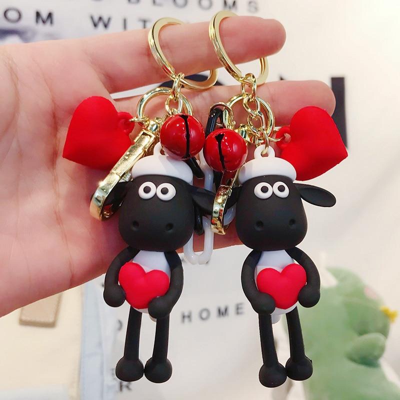 Fashion Cute Heart Sheep Keychain Women Bag Charms Pendant Keyring Man Car Key Chain Jewelry Trinket Party Gift