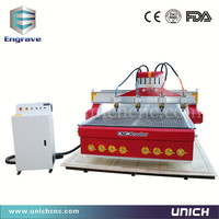 Competitive Price 1500 3000 Mm Working Area Four Head 4 Axis Cnc Router Engraver