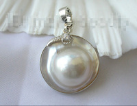 womens STUNNING AAA big 25mm round white south sea mabe pearl Pendant silver Factory Wholesale price Women Gift word Jewelry