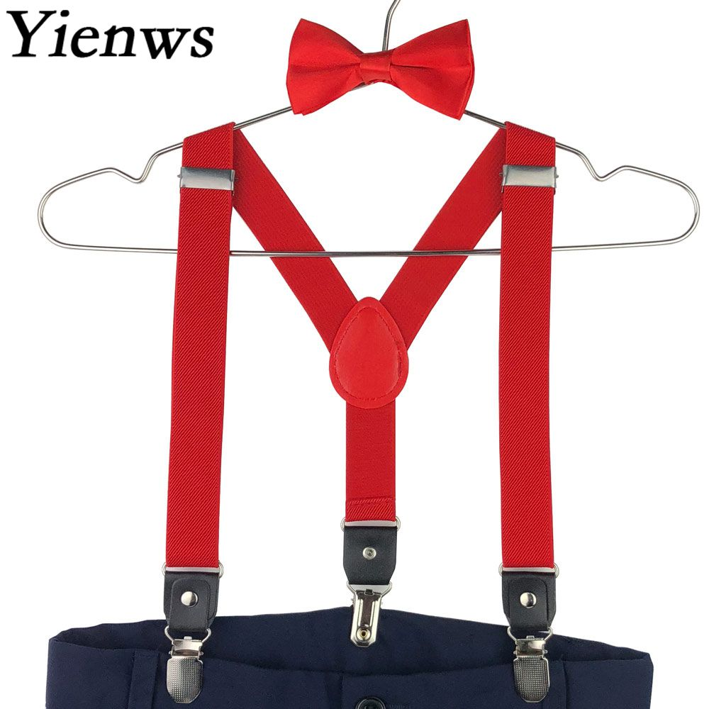 Yienws Red Baby Bowtie Suspenders Boys Leather Suspenders Bow Tie Pink Bowtie Braces For Children Tirantes Bebe 2.5*70cm YiA145