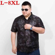 plus size 8XL7XL Men Hawaiian Short Sleeve Shirt Male Luxury Cotton Aloha  Flower Floral Printed Casual 224f79b509c3