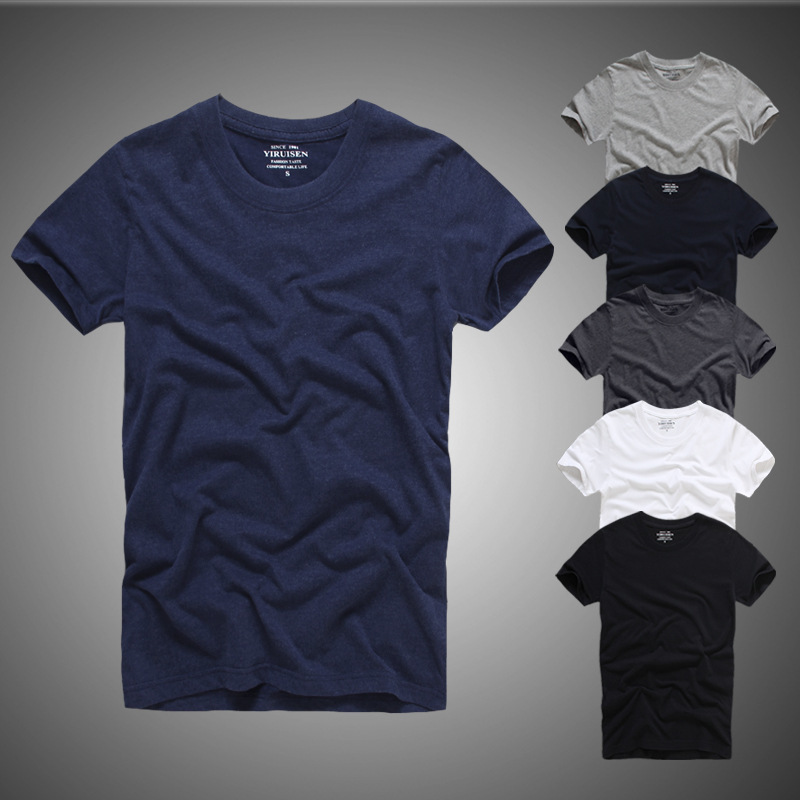 New Men's Tops mens Tee shirts t male Shirt homme Slim Fit Short Sleeve Solid Color Casual T-Shirt