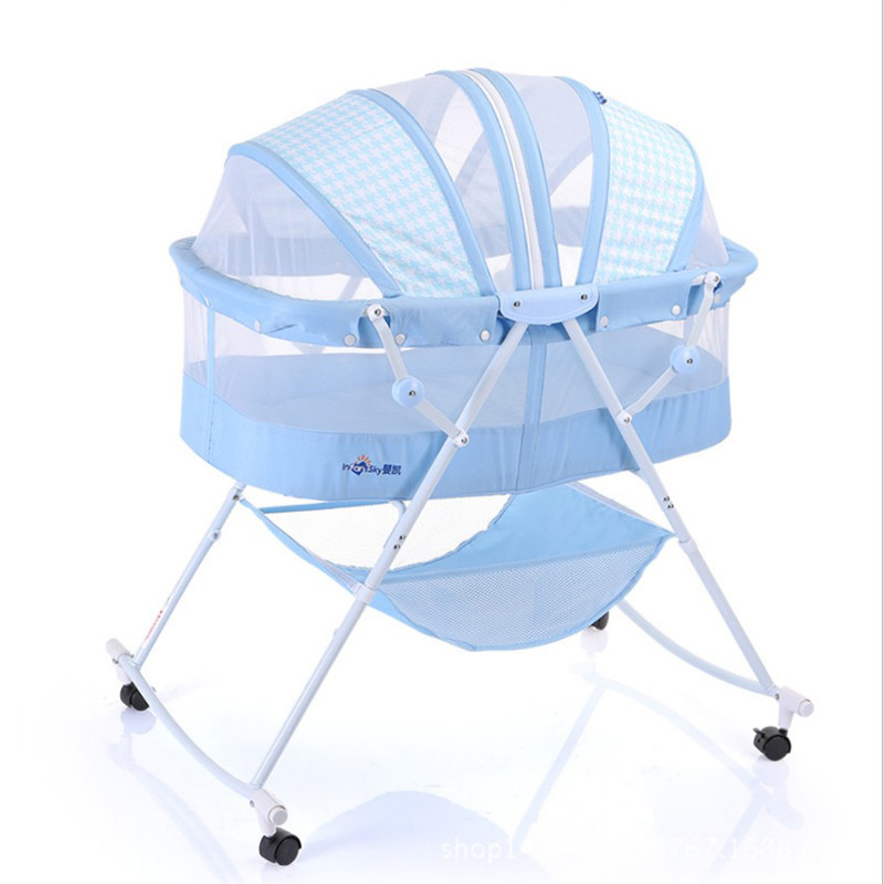 Baby Cradle Cartoon Baby Crib Cradle Cunas Baby Bed 0-2 Year Infant Portable Folding Baby Cots Foldable Crib With Net Travel Bed
