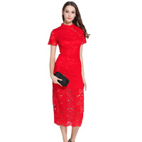 Summer Chinese Cheongsam Dress For Women Short Sleeve Sexy Hollow Out Bodycon Red Lace Dresses Party