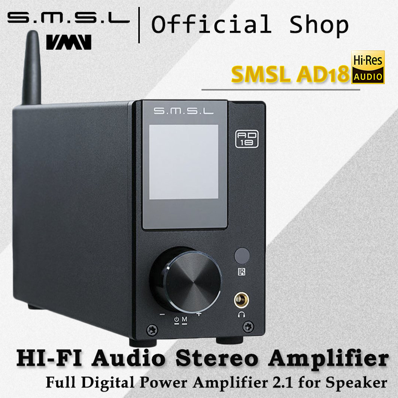SMSL AD18 HI-FI Audio Amplificatore Stereo con Bluetooth 4.2 Supporta Apt-X, USB DSP Full Digital Amplificatore di Potenza 2.1 per Altoparlante