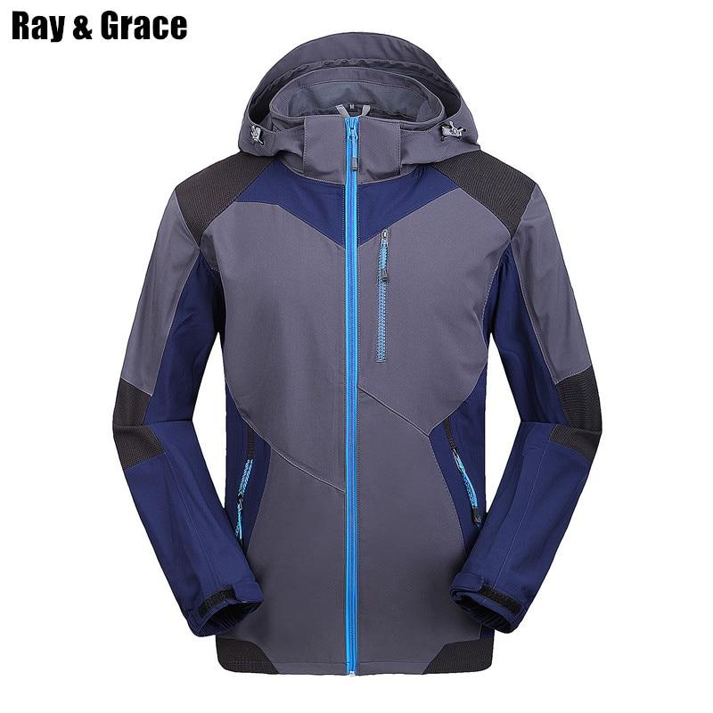 Ray Grace hombres Tres Temporada Chaqueta Softshell Resistente al Agua Capucha A
