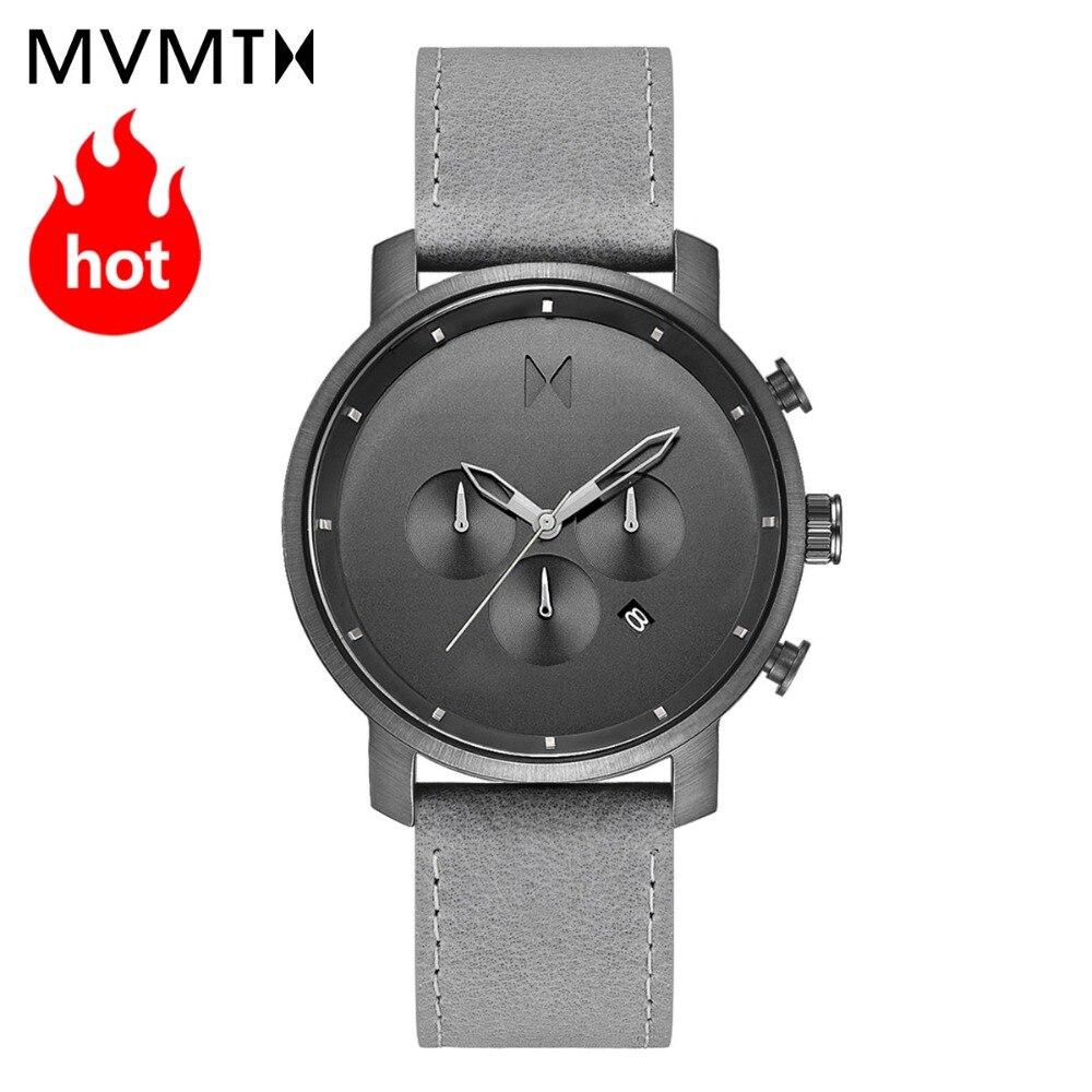 MVMT Officiel de la montre authentique montre hommes de mode Européen et Américain hommes de montre en cuir montre à quartz étanche 45 mmdw