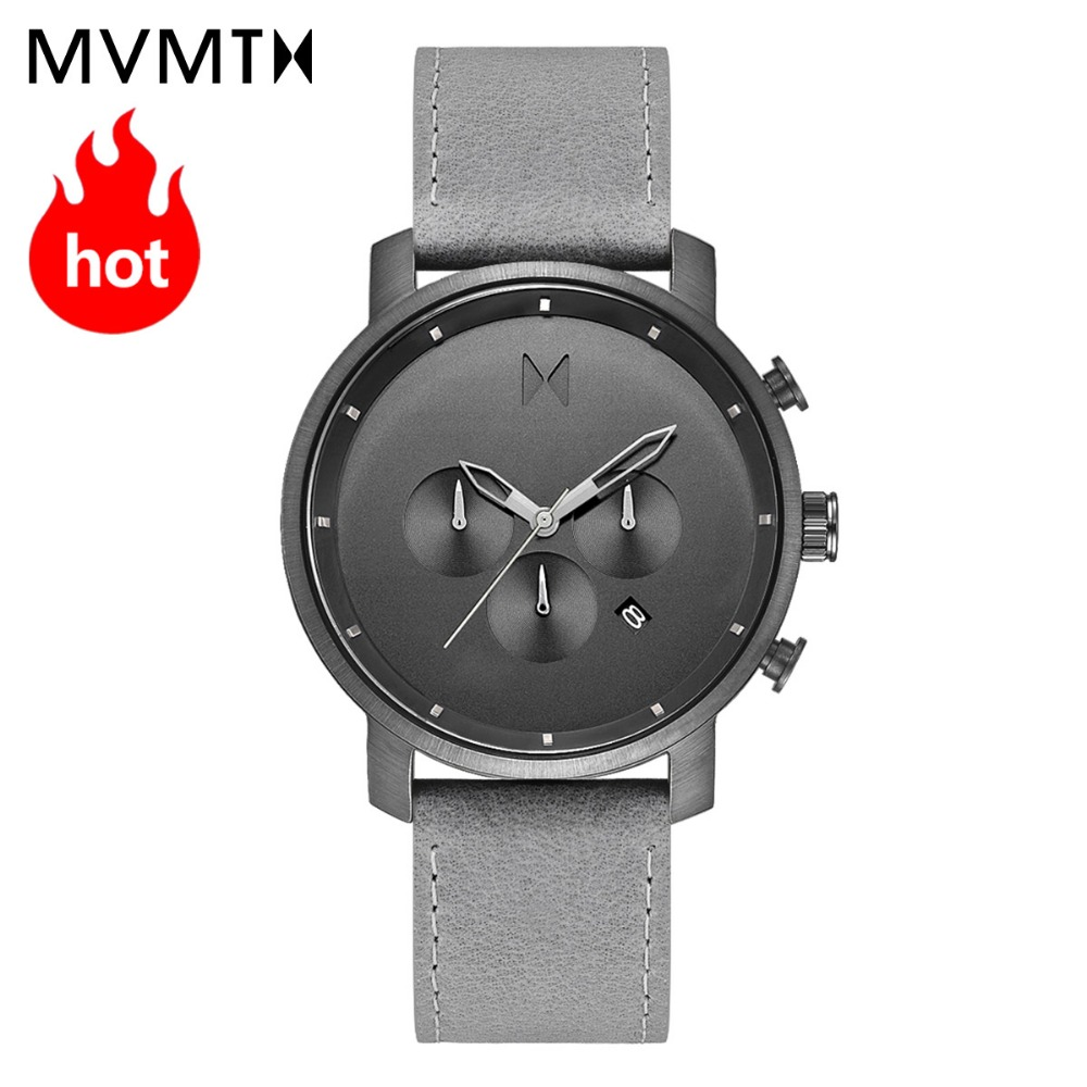 MVMT watch Official authentic watch men's fashion European and American men's watch leather waterproof quartz watch 45mmdw
