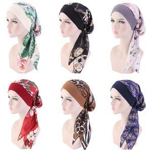 Image 1 - Women Muslim Hijab Caps Bandana Printed Turban Chemo Hats Long Hair Band Head Wrap Islamic Headscarf Hair Loss Hat Arab Fashion