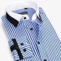 Designer de moda Marca Camisa Listrada 100% Algodão Homens de Manga Longa Slim Fit Camisa de Vestido Formal do Negócio do Sexo Masculino Casual Plus Size 4XL
