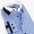 Fashion Designer Brand Striped 100% Cotton Shirt Men Long Sleeve Slim Fit Formal Business Male Casual Dress Shirt Plus Size 4XL