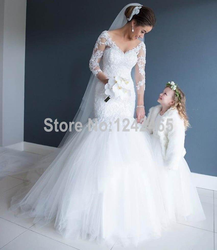 Robe De Noiva Sereia 2015 Sexy col mariée robes trois quarts manches robe De mariée blanc