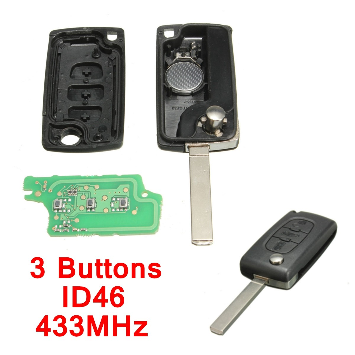 3 buttons remote key 433mhz transponder chip id46 for peugeot 207 307 308 407 607 for citroen. Black Bedroom Furniture Sets. Home Design Ideas